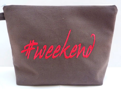 Tasche WEEKEND Canvas anthrazit-pink