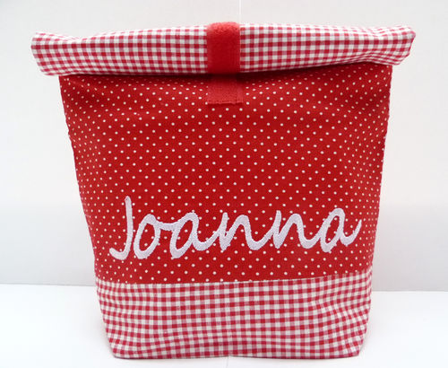 LunchBAG WUNSCHNAME rot-weiss