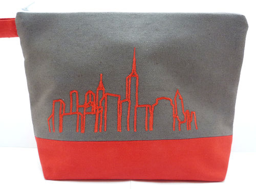 Tasche SKYLINE Canvas anthrazit-rot