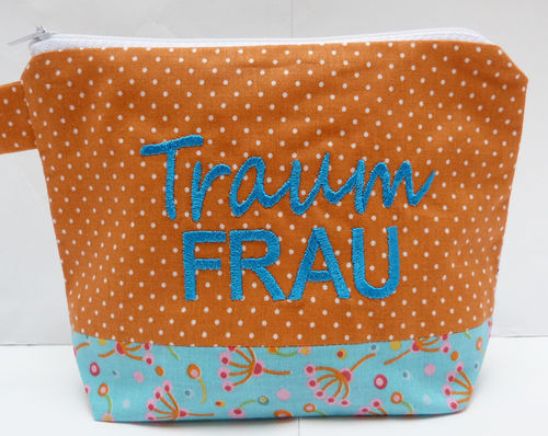 Kosmetiktasche TRAUMFRAU türkis - orange