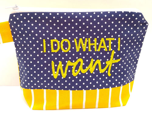Kosmetiktasche I DO WHAT I WANT marine - gelb